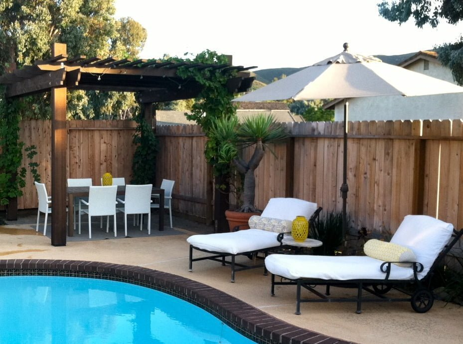 Backyard pergola and pool
