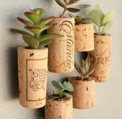 Easy DIY Magnetic Wine Cork Planters