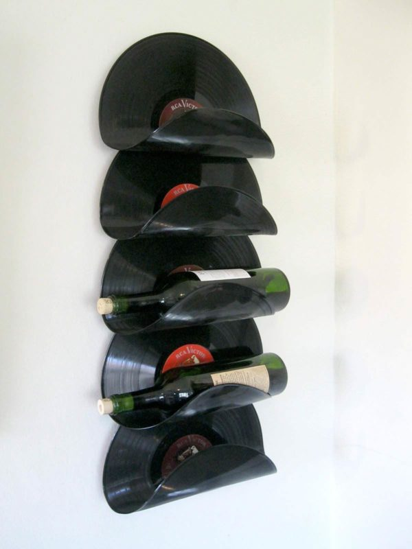 Wine Rack from upcycled vinyl records