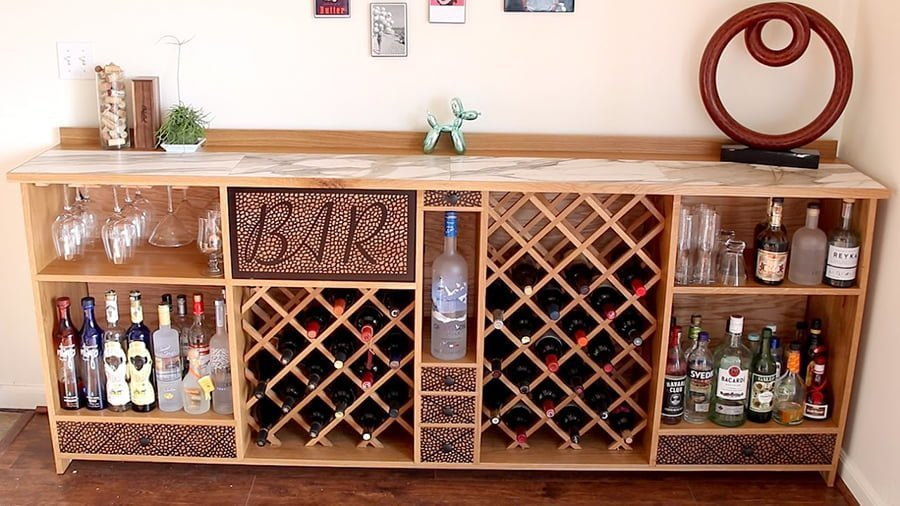 DIY wine bar in wine cellars