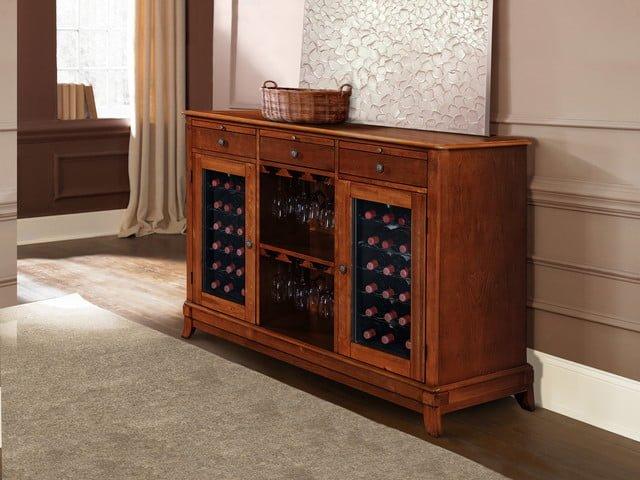 Wine storage credenza in wine cellars