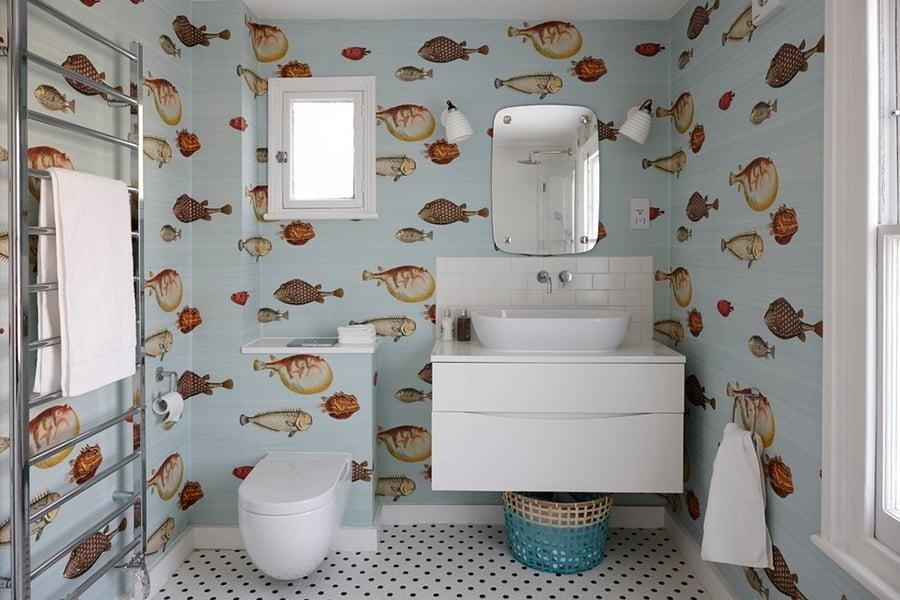 Coastal bathroom wallpaper