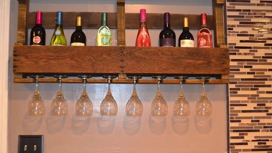 Wine Rack and Holder Made From Pallets