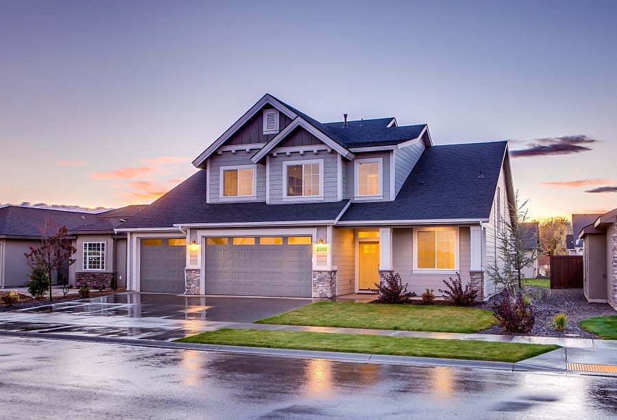 rainy house exterior