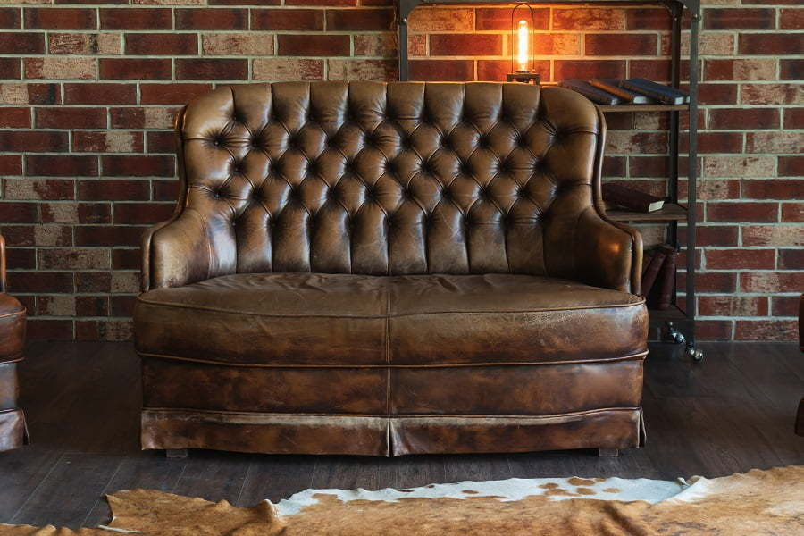 leather bulky sofa