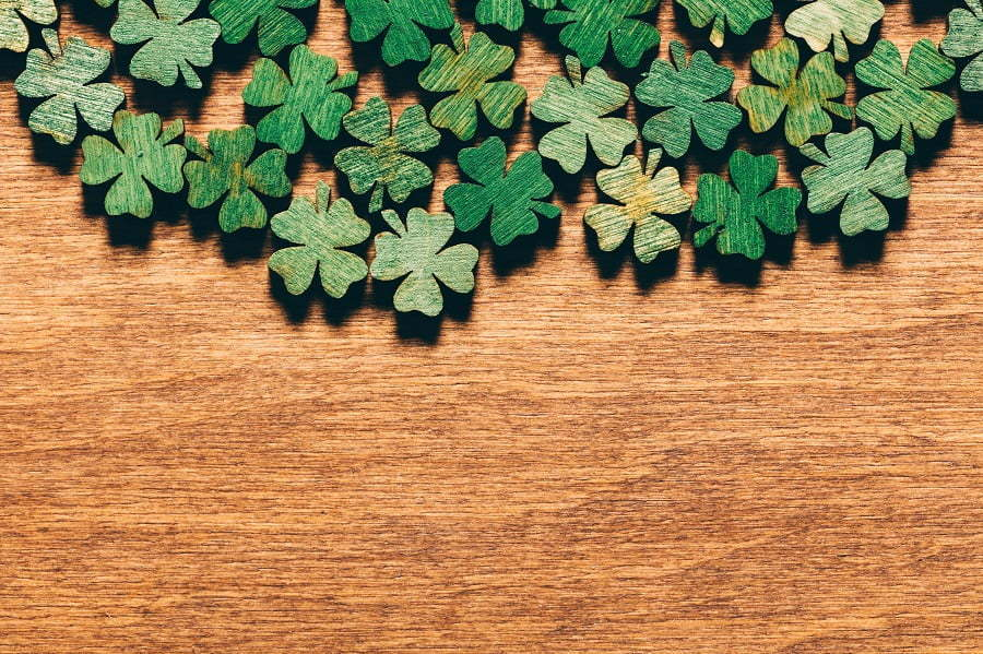 Wooden green shamrocks